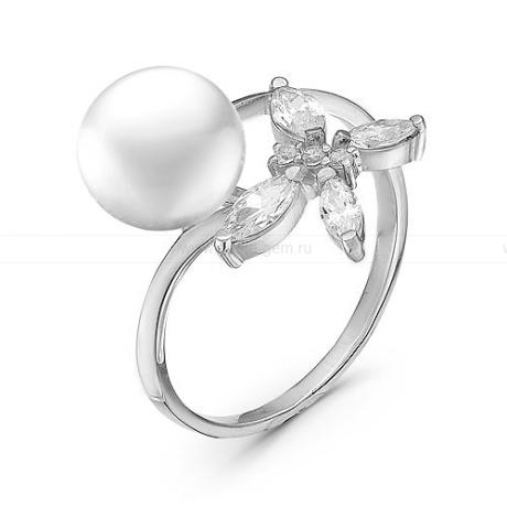 Кольцо из серебра с белой жемчужиной. Артикул 10439
