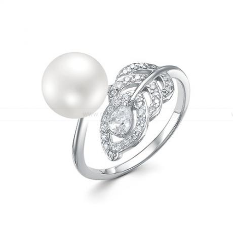 Кольцо из серебра с белой жемчужиной 8,5-9 мм. Артикул 10440