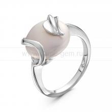 Кольцо из серебра с белой жемчужиной. Артикул 10443