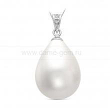 "Кулон из серебра с белой жемчужиной ""Майорика"" 16-20 мм. Артикул 10449"