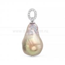 "Кулон из серебра с серой жемчужиной ""Барокко"" 13-16 мм. Артикул 10452"
