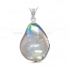 "Кулон из серебра с серебристой жемчужиной ""Барокко"" 19-20 мм. Артикул 10453"