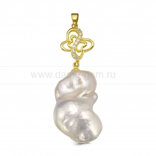 "Кулон из серебра с белой жемчужиной ""Барокко"" 20-25 мм. Артикул 10456"