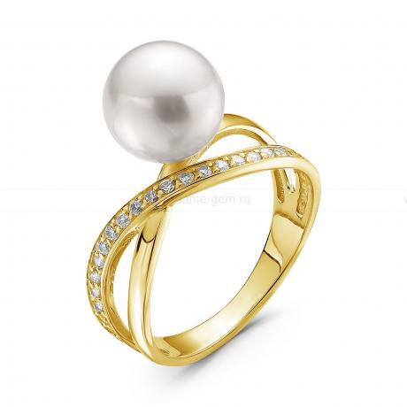 Кольцо из золота с белой морской жемчужиной Акойя 9-9,5 мм. Артикул 10460