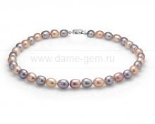 "Ожерелье ""микс"" из речного рисообразного жемчуга 10-11 мм. Артикул 10492"