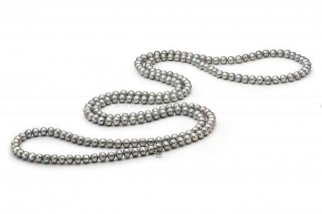 Бусы из серебристого круглого речного жемчуга 8,5-9,5 мм. Артикул 10494