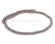 """Ожерелье """"Галстук"""" из серого круглого речного жемчуга 8-8,5 мм. Артикул 10500"""