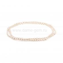 Ожерелье из белого жемчуга 6-11 мм со вставками из серебра. Артикул 10502