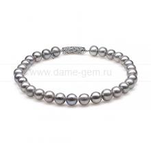 Ожерелье из 30 жемчужин из серебристого речного жемчуга 11,5-14 мм. Артикул 10503