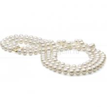 Ожерелье в 3 ряда из белого круглого речного жемчуга 8-8,5 мм. Артикул 10510