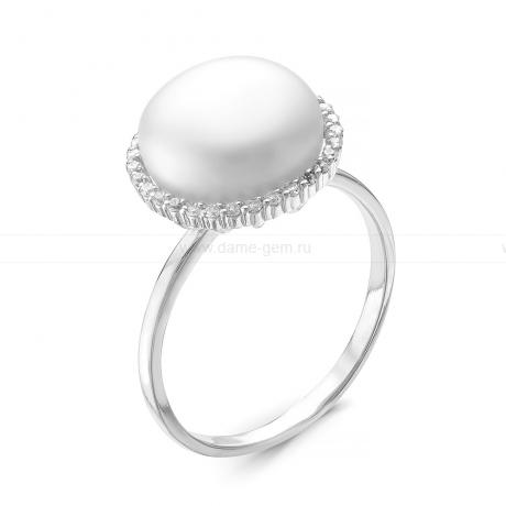 Кольцо из серебра с белой жемчужиной 10,5-11 мм. Артикул 10514