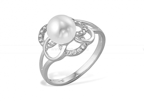 Кольцо из серебра 925 пробы с белой жемчужиной 8-8,5 мм. Артикул 10515
