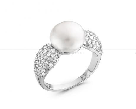 Кольцо из серебра 925 пробы с белой жемчужиной 9,5-10 мм. Артикул 10516