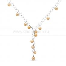 Колье из серебра с золотистыми Австралийскими жемчужинами 11-11,5 мм. Артикул 10588