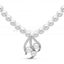 Ожерелье с кулоном из белого круглого речного жемчуга 9-10 мм. Артикул 10590