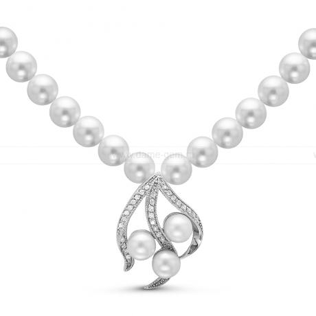 Ожерелье с кулоном из белого круглого речного жемчуга 8,5-9,5 мм. Артикул 10590