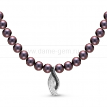 Ожерелье из черного жемчуга с кулоном из серебра. Артикул 10595