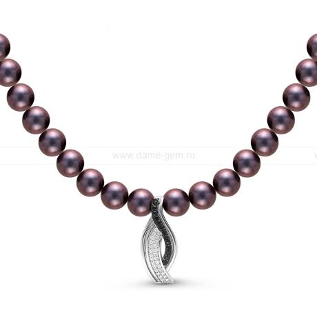 Ожерелье с кулоном из черного круглого речного жемчуга 7-7,5 мм. Артикул 10595