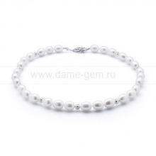 Ожерелье из 30 жемчужин из белого жемчуга. Артикул 10600