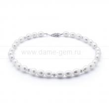 Ожерелье из 30 жемчужин из белого речного жемчуга 10-11 мм. Артикул 10600
