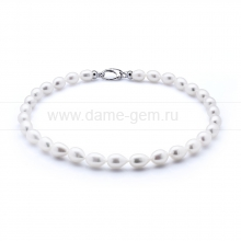 Ожерелье из 30 жемчужин из белого рисообразного жемчуга 10-11 мм. Артикул 10603