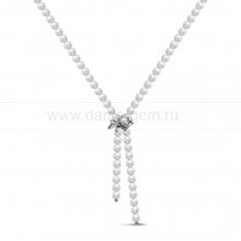 """Ожерелье """"галстук"""" из белого речного жемчуга с застежкой """"Роза"""". Артикул 10604"""