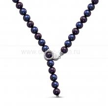 """Ожерелье """"галстук"""" из черного речного жемчуга 8,5-9,5 мм. Артикул 10605"""