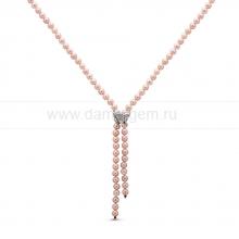 """Ожерелье """"галстук"""" из розового жемчуга. Артикул 10606"""