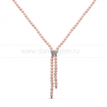 "Ожерелье ""Галстук"" из розового круглого речного жемчуга 9-10 мм. Артикул 10606"