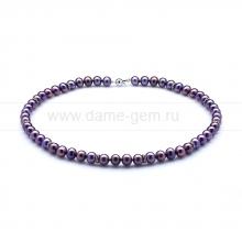 Ожерелье со стразами из черного круглого речного жемчуга 7,5-8 мм. Артикул 10609