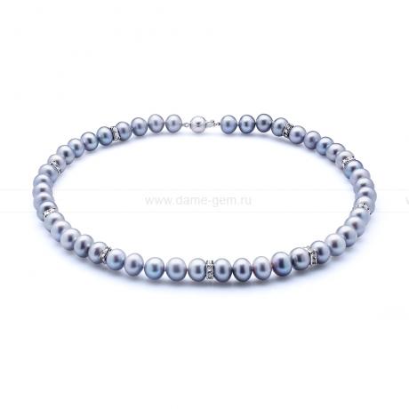 Ожерелье со стразами из серого круглого речного жемчуга 8,5-9,5 мм. Артикул 10610