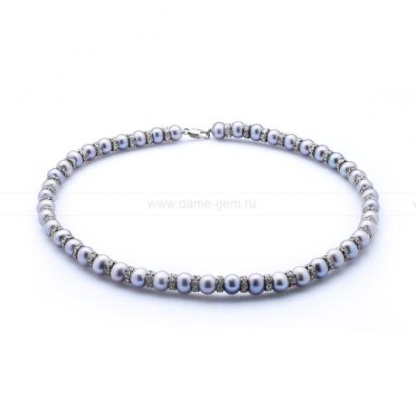 Ожерелье со стразами из серого речного круглого жемчуга 8-8,5 мм. Артикул 10611