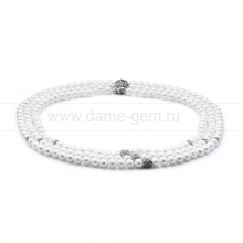 Ожерелье в 3 ряда из белого жемчуга. Артикул 10612