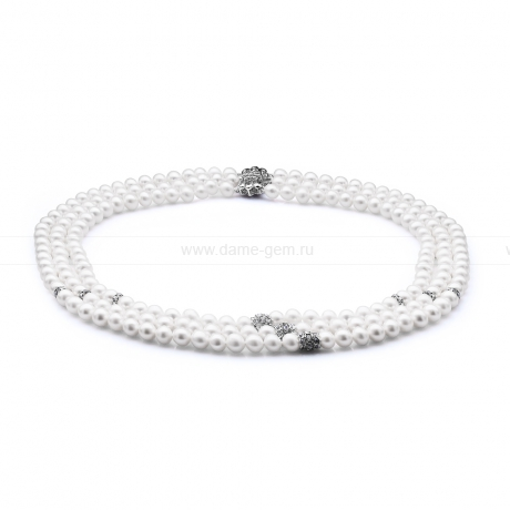 Ожерелье в 3 ряда из белого круглого речного жемчуга 6,5-7 мм со стразами. Артикул 10612
