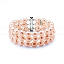 Браслет многорядный из розового жемчуга. Артикул 10619