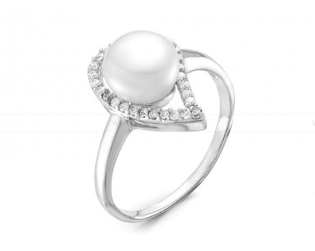 Кольцо из серебра белым жемчугом. Артикул 10623
