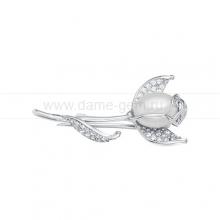 Брошь серебряная с белой жемчужиной 7,5-8 мм. Артикул 10631