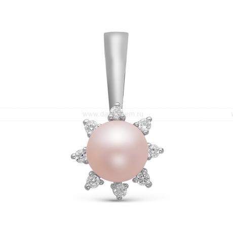 Подвеска из серебра с розовой жемчужиной 7-7,5 мм. Артикул 10641