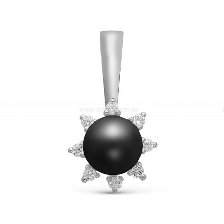 Подвеска из серебра с черной жемчужиной 7-7,5 мм. Артикул 10645