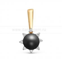Подвеска из серебра с черной жемчужиной 7-7,5 мм. Артикул 10646