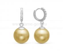 "Серьги из серебра с золотыми жемчужинами ""Майорика"" 14 мм. Артикул 10649"