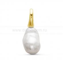 Кулон золотой с белой барочной жемчужиной. Артикул 10660