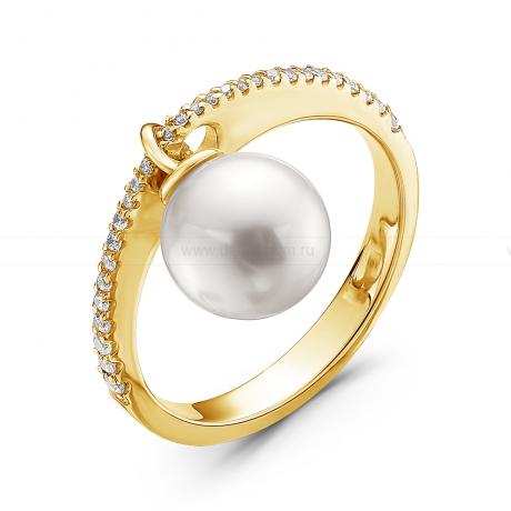 Кольцо из серебра с белой жемчужиной 8,5-9 мм. Артикул 10661