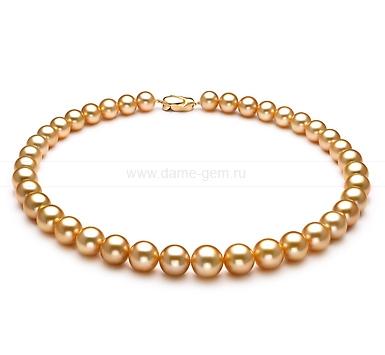 Ожерелье из золотистого морского Австралийского жемчуга 10,1-12,8 мм. Артикул 10662