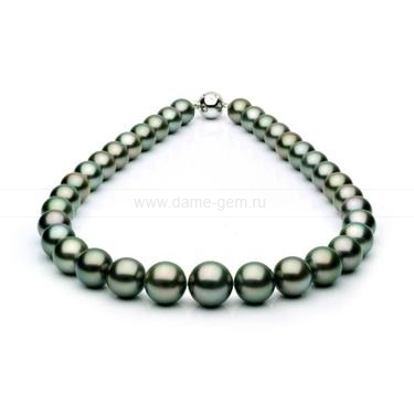 Колье (ожерелье) из черного Таитянского морского жемчуга 13-15 мм. Артикул 10670