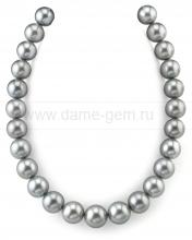 Колье (ожерелье) из темно-серого Таитянского морского жемчуга. Артикул 10672