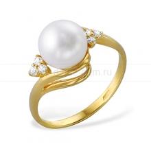 Кольцо из желтого золота с белой жемчужиной 7,5-8 мм. Артикул 10674