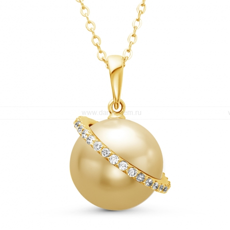 Подвеска из желтого золота с золотистой Австралийской жемчужиной 12-12,5 мм. Артикул 10693