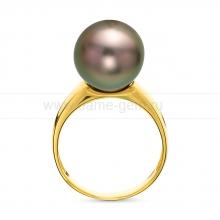 Кольцо из золота с черной Таитянской жемчужиной 12-12,5 мм. Артикул 10695