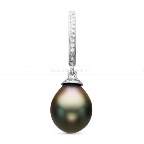 Кулон из серебра с черной Таитянской жемчужиной 9,6-9,9 мм. Артикул 10700